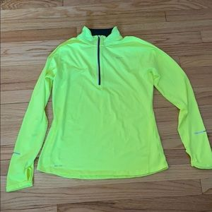 Nike dri-fit zip up in highlighter yellow